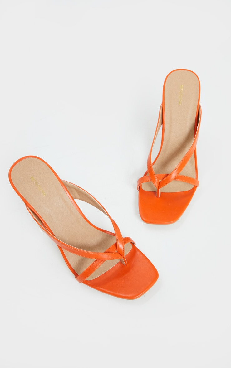 Orange Cake Stand High Heel Toe Thong Strap Mule Heels 4