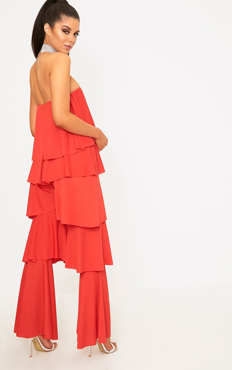 Red Bardot Frill Layer Detail Jumpsuit 2