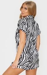 Zebra Button Up Short Satin PJ Set 2