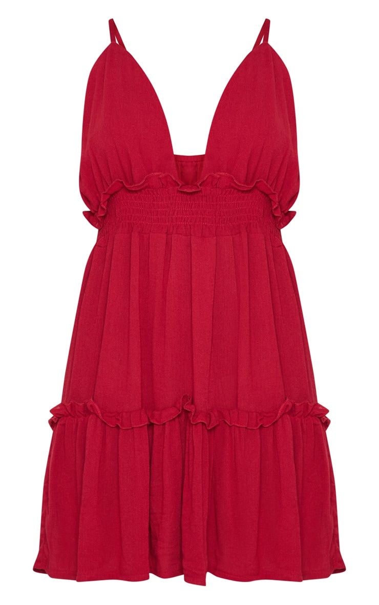 Burgundy Cheesecloth Ruched Detail Plunge Strappy Swing Dress 3