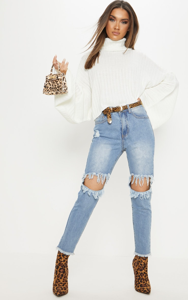 Cream Ribbed Knit High Neck Sweater  5