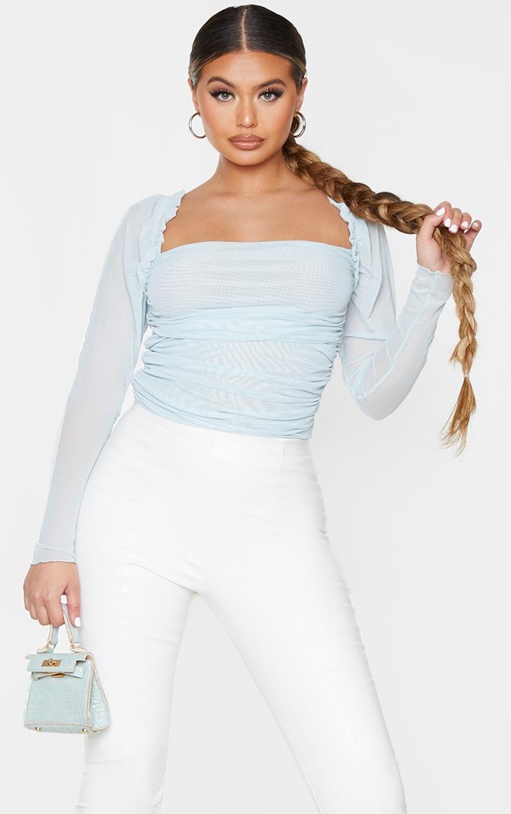 Pastel Blue Sheer Mesh Ruched Puff Sleeve Bodysuit 1