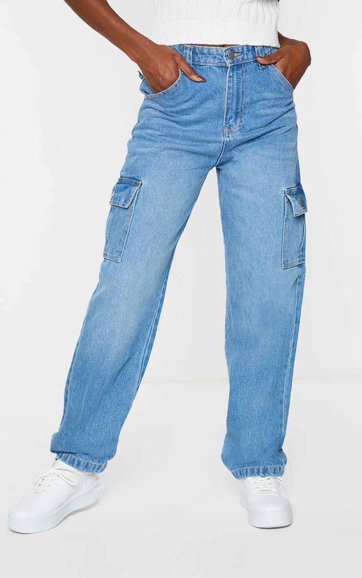 Vintage Wash  Wide Leg Cargo Pocket Jeans 2