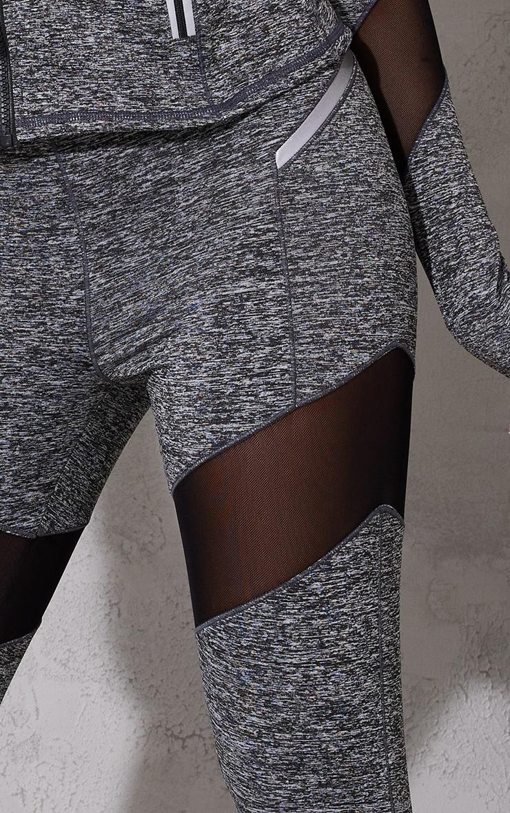 Grey Mesh Panel Marl Gym Legging 4
