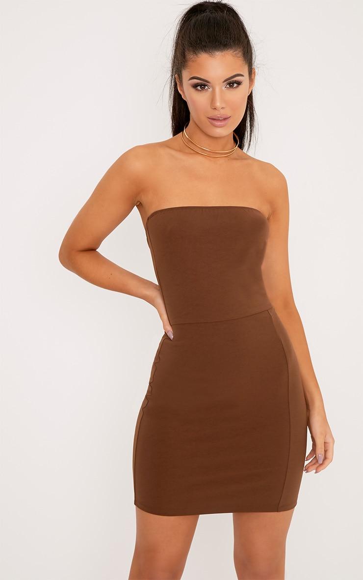 Elia Brown Bandeau Bodycon Dress 1