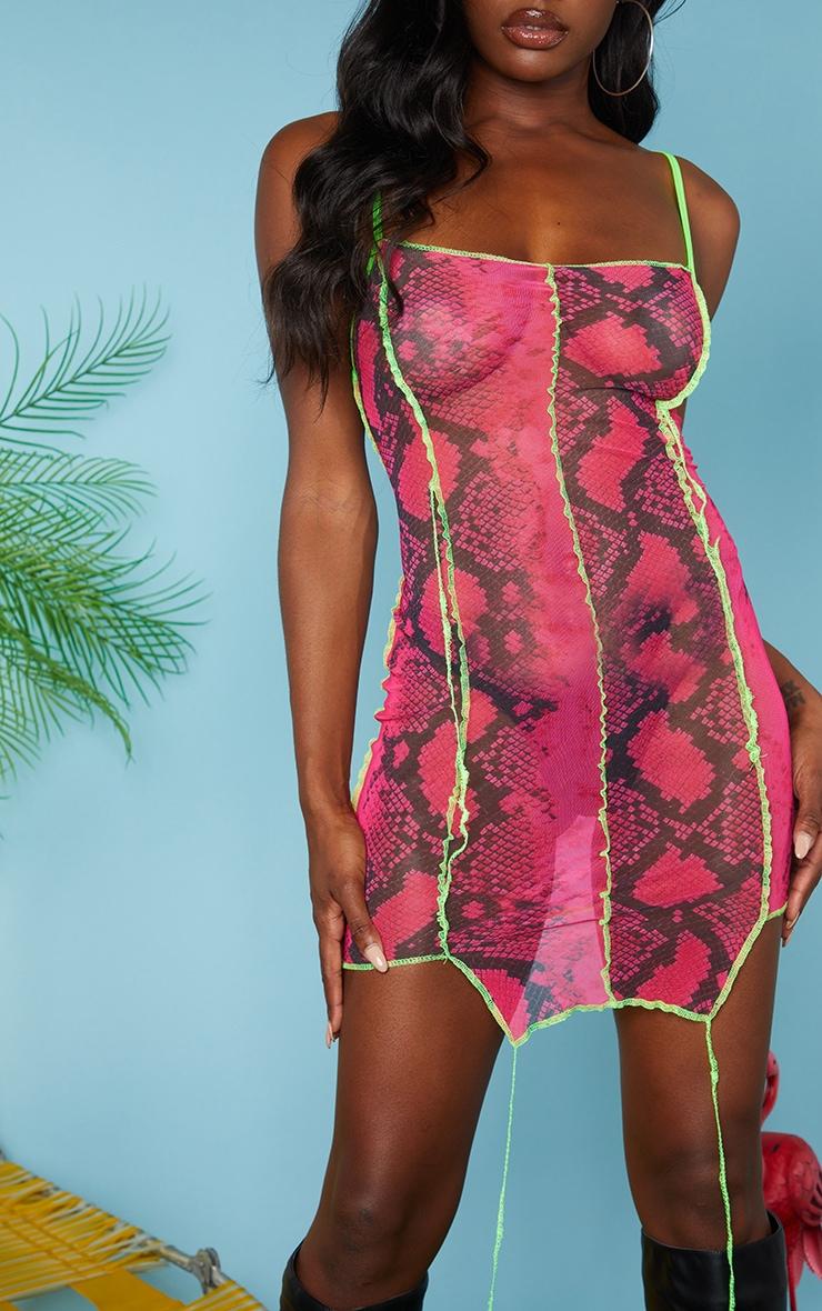 Hot Pink Snake Mesh Overlocked Bodycon Dress 4