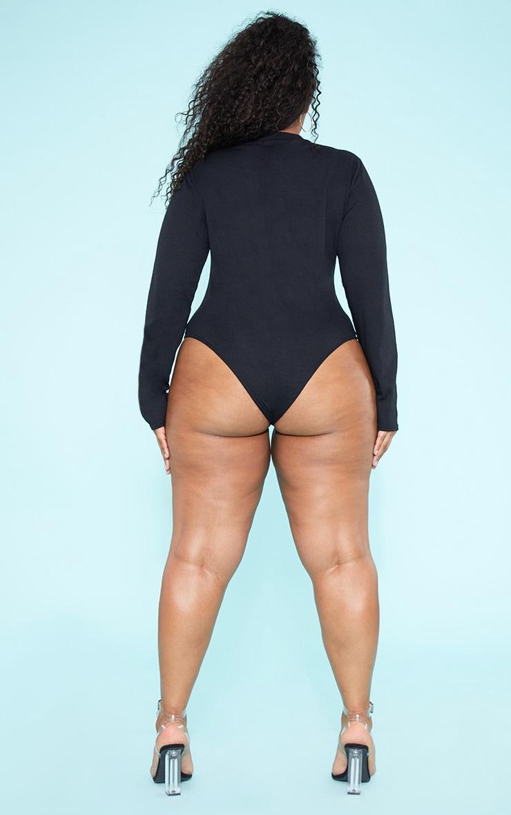 RECYCLED Plus Black Crew Neck Long Sleeve Bodysuit 6