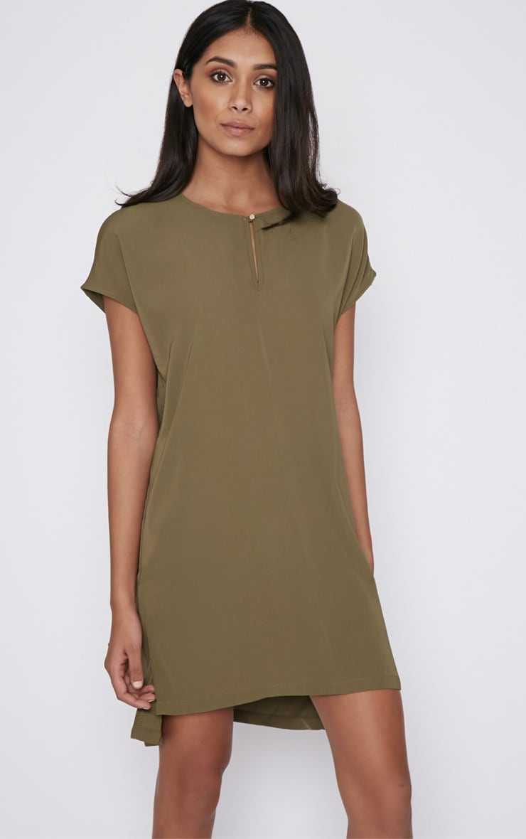 Wilma Khaki Shift Dress 1
