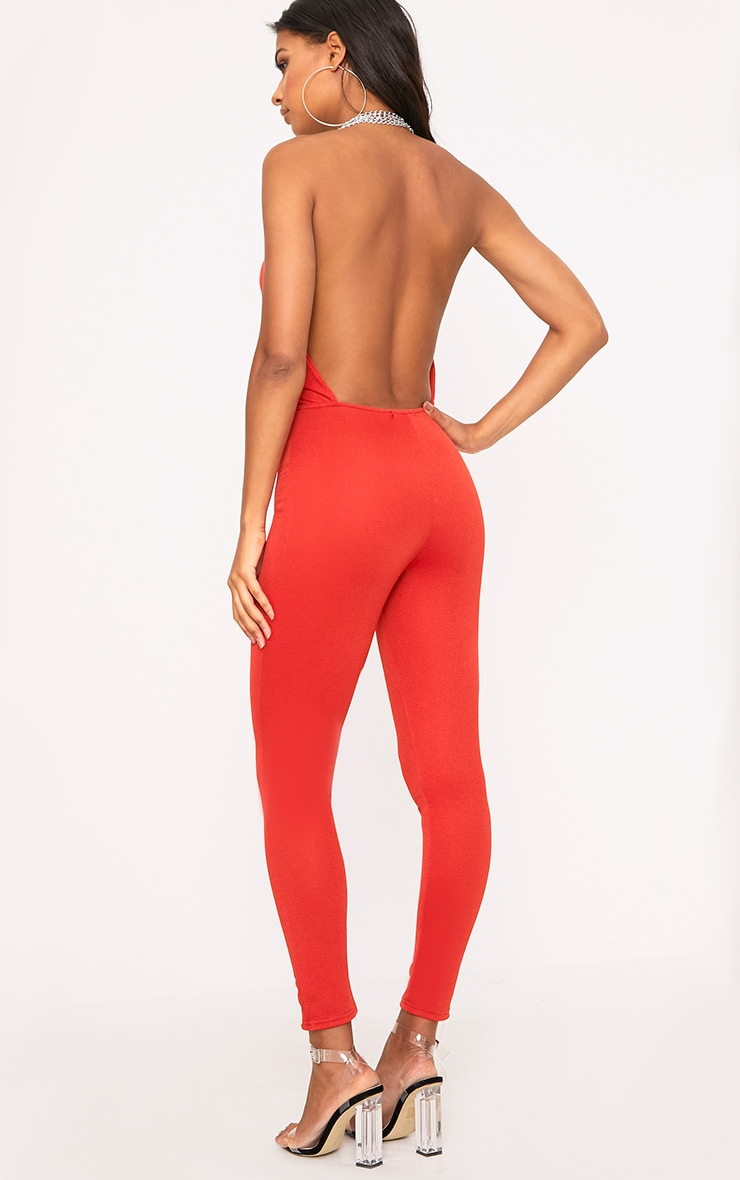 Red Chain Scoop Front Jumpsuit  2