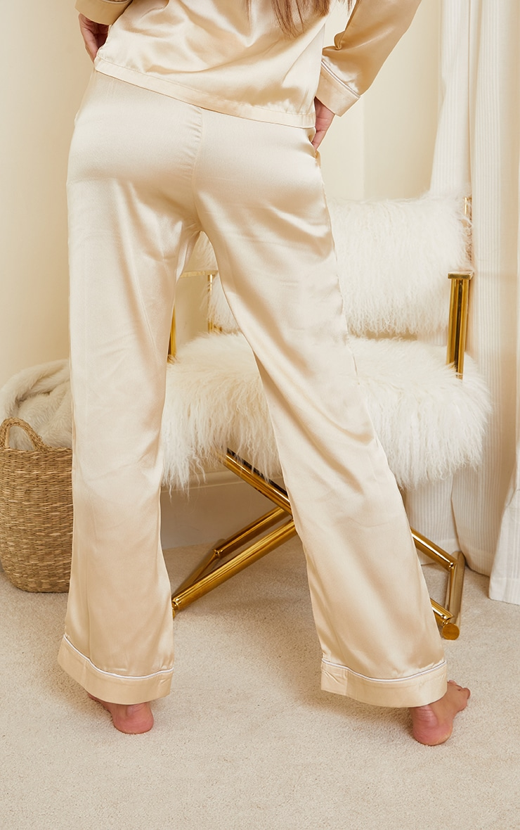 Champagne Mix And Match Piped Detail Satin PJ Pants 3