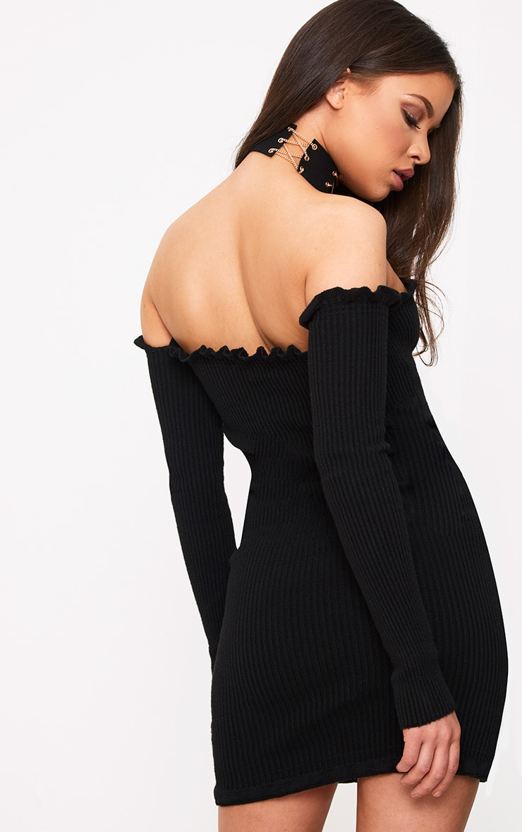 Amarae Black Ruffle Detail Knit Bardot Mini Dress 2