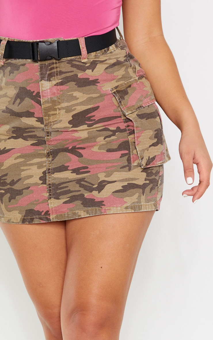 Camo Belted Denim Skirt 6
