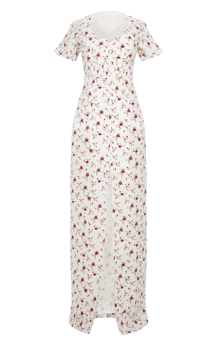 White Floral Button Detail Maxi Dress 3
