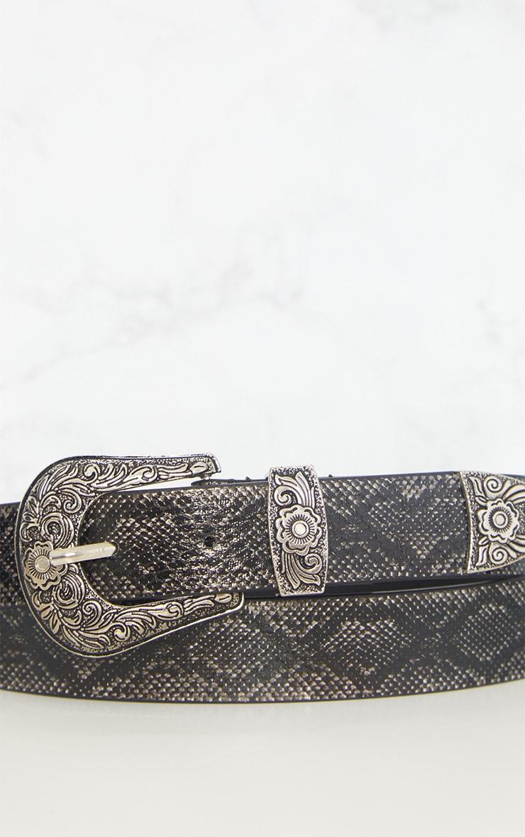 Grey Snake Print Western Belt 5