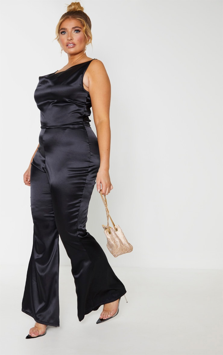 Plus Black Cowl Neck Satin Flared Jumpsuit 4