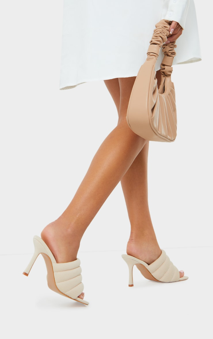 Cream Tube Strap Extreme Square Toe Mule Heels 2