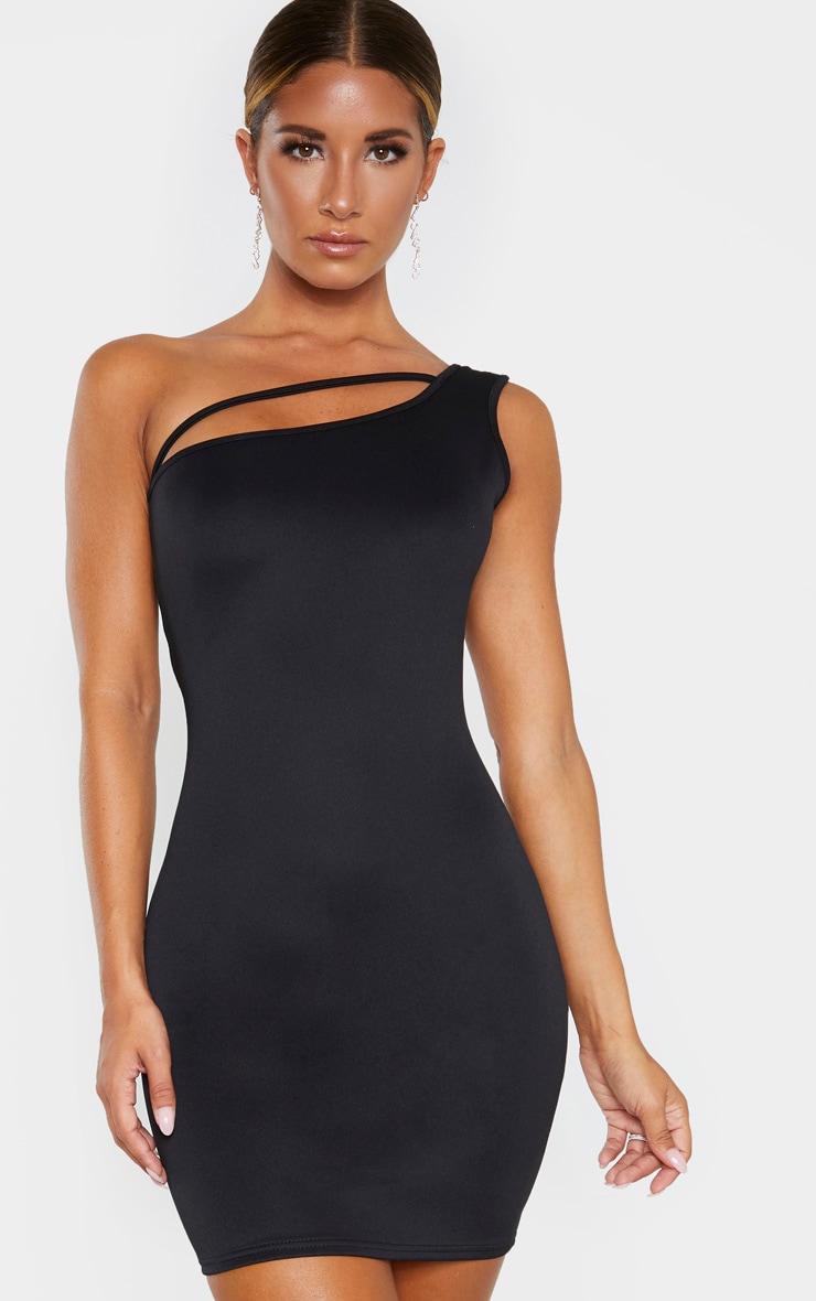Black One Shoulder Strap Detail Bodycon Dress 4