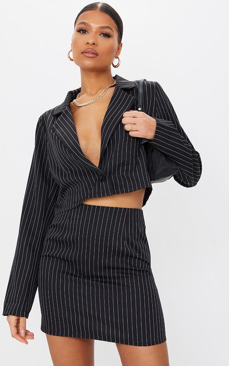 Black Woven Pinstripe Oversized Cropped Blazer 6
