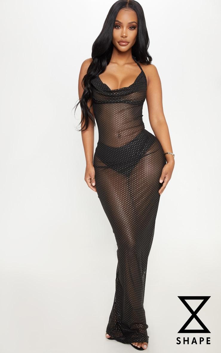 Shape Black Mesh Polka Dot Maxi Dress