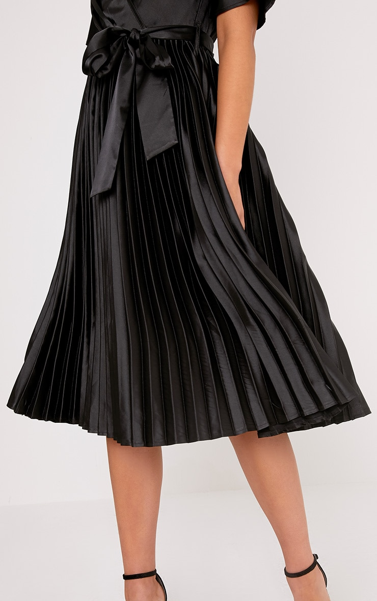 Mairee Black Satin Pleated Midi Dress 5