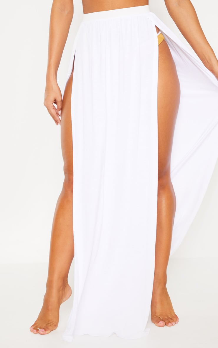 White Jersey Double Split Beach Skirt 2