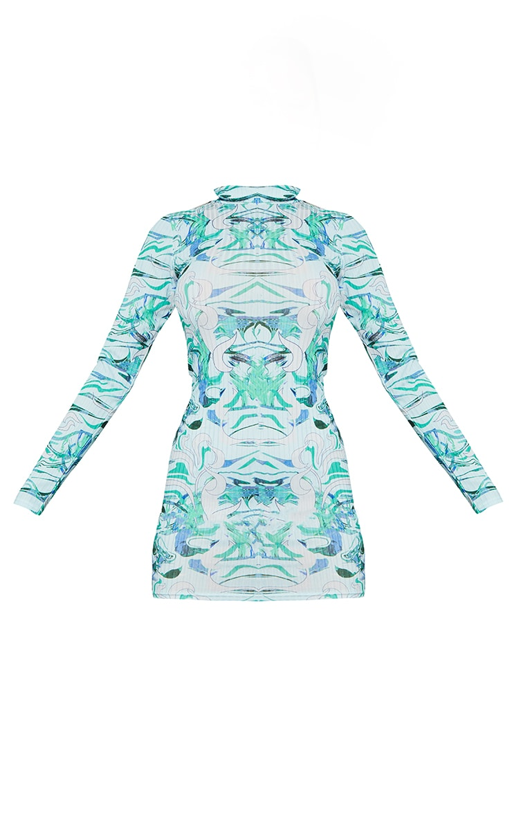 Green Swirl Print Ribbed Long Sleeve High Neck Bodycon Dress 5