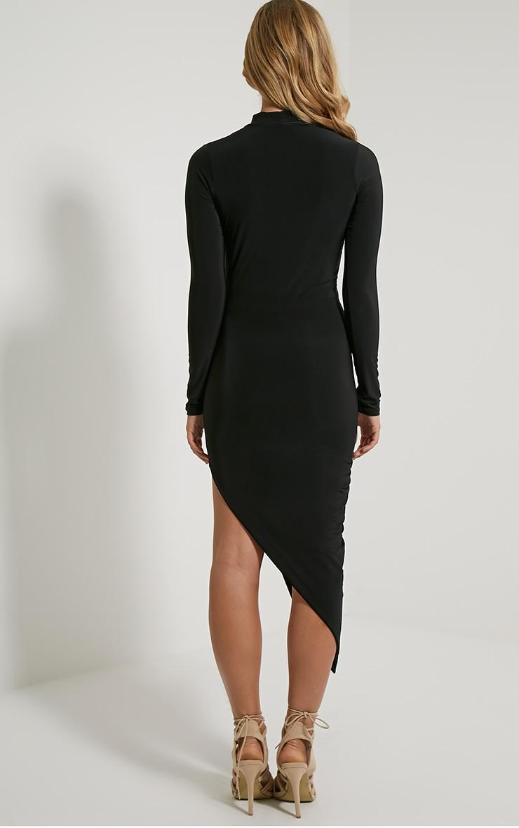 Saffy robe drapée manches longues noire 2
