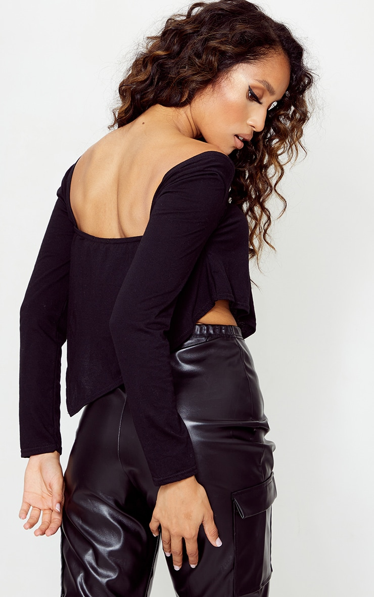 Petite Black Long Sleeve Cotton Hem Detail Top 2