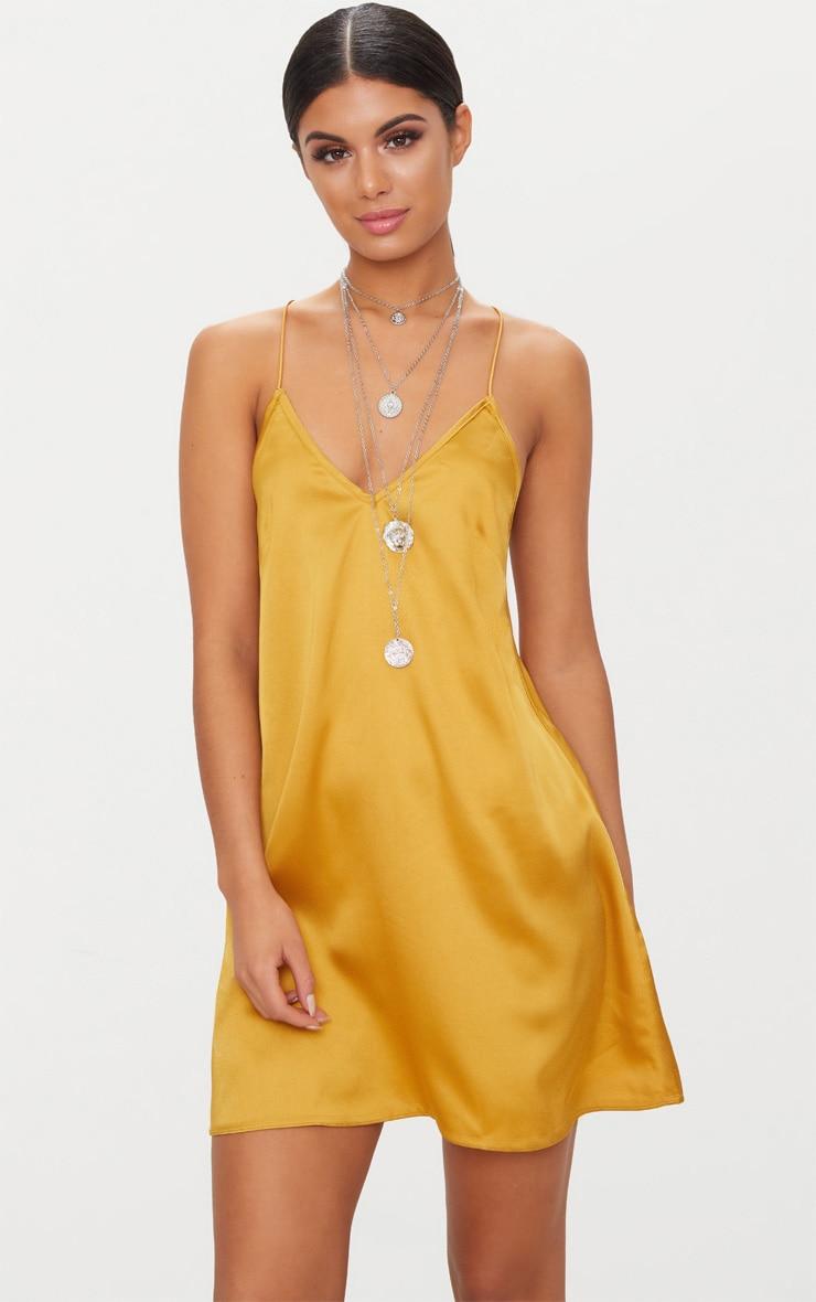 Mustard Satin Cami Shift Dress