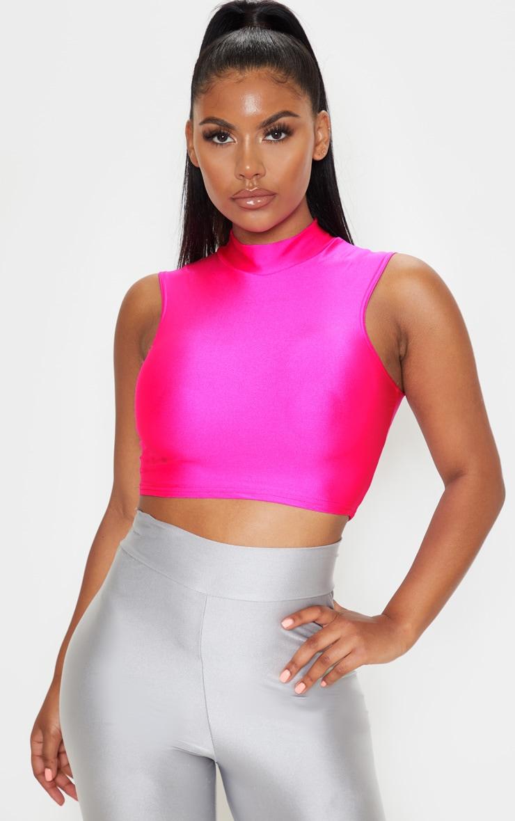 Neon Pink Disco High Neck Sleeveless Crop Top 1