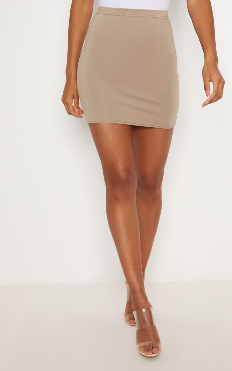 Basic Taupe Jersey Mini Skirt 2