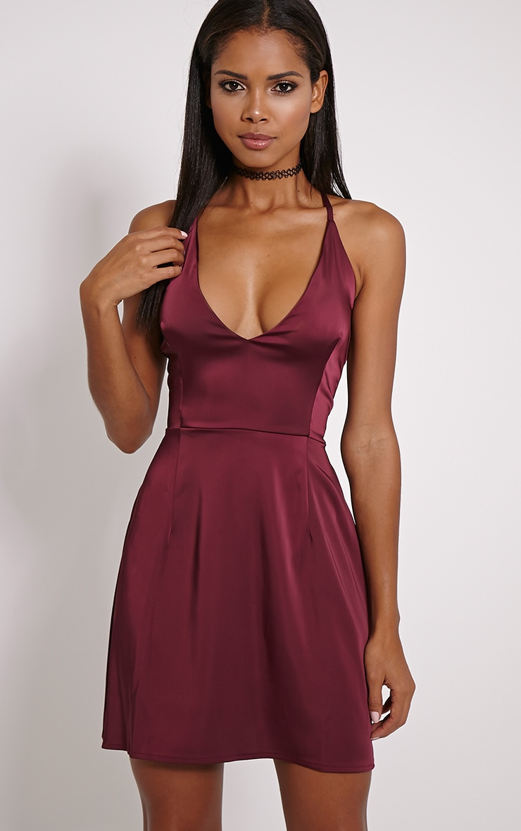 Lamara Berry Satin Skater Dress 1