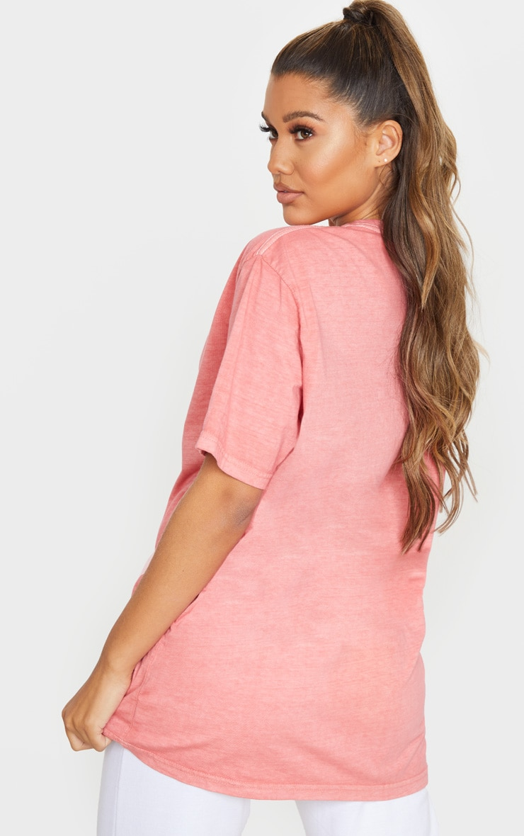 PRETTYLITTLETHING Red Embroidered Wash T Shirt 2