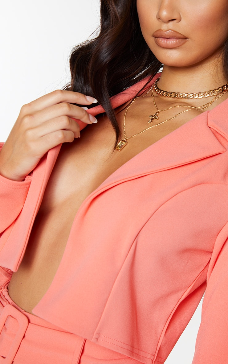 Coral Cropped Suit Blazer 4
