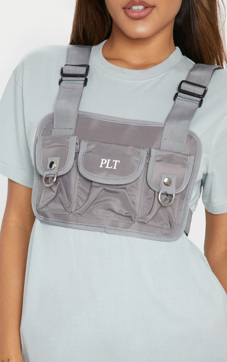 PRETTYLITTLETHING Grey Nylon Vest Bag 1