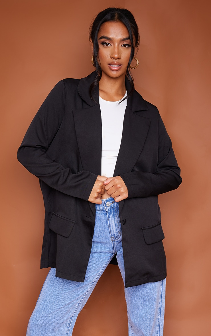 Petite Black Oversized Pocket Blazer 1