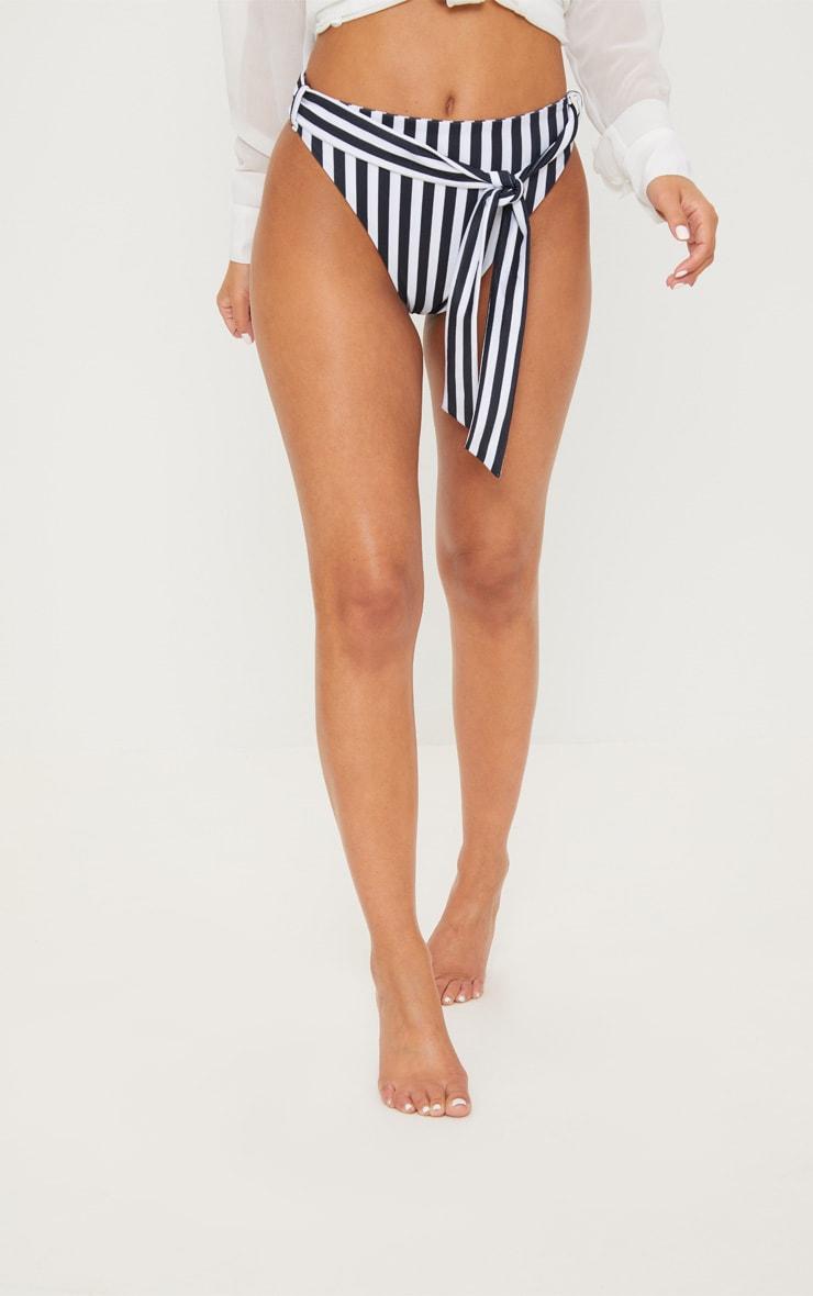 Petite Black Striped High Waisted Bikini Bottoms  2