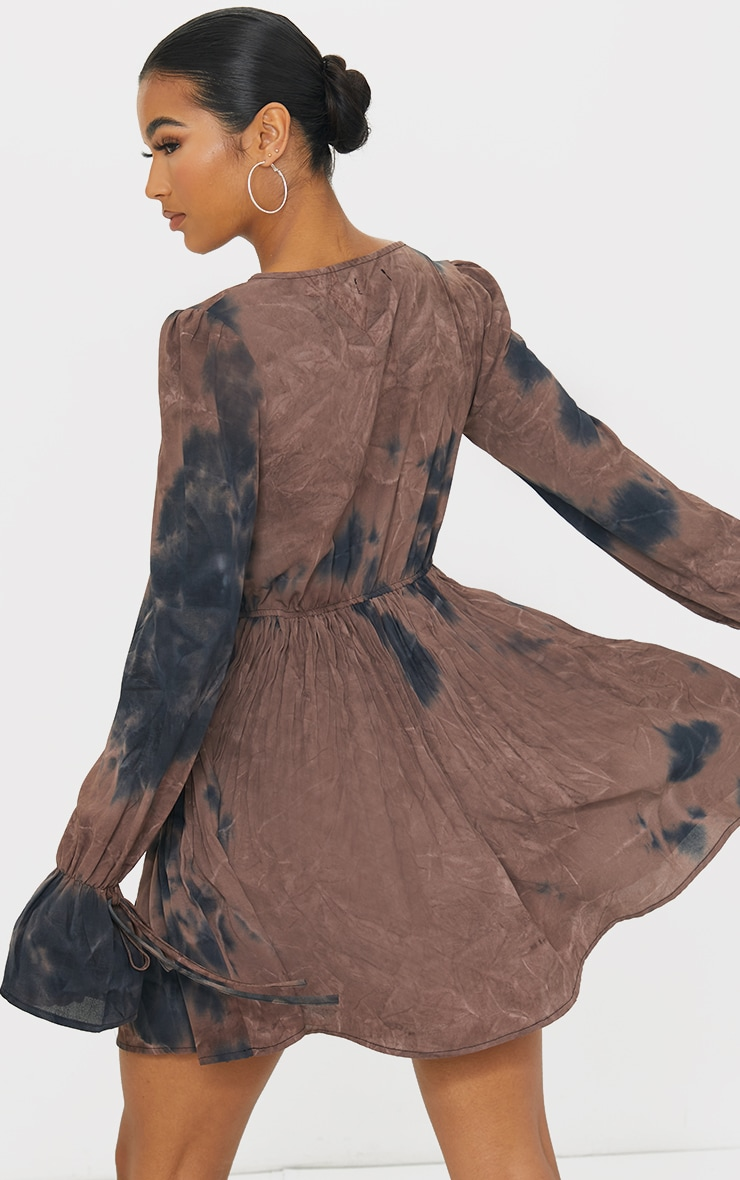 Brown Tie Dye Pleated Skirt Tie Detail Skater Dress 2