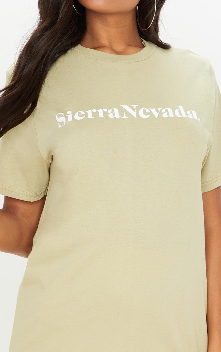 Sage Khaki Sierra Nevada Slogan T Shirt 5