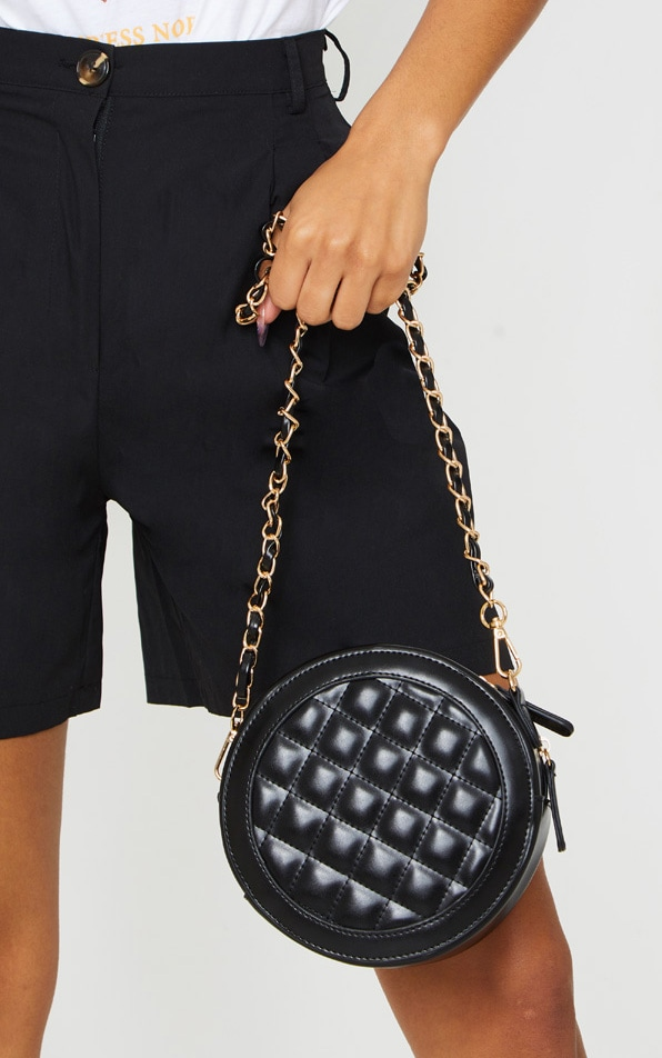 Black Quilted PU Circle Cross Body Bag 1