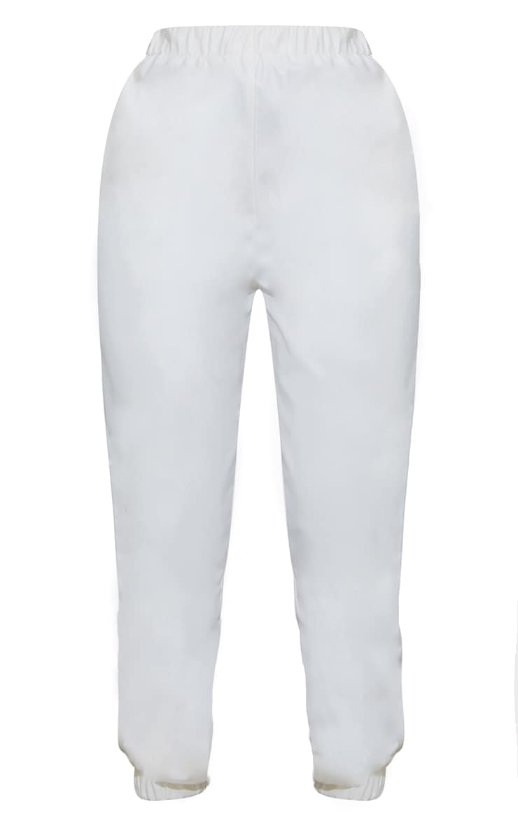 Cream Faux Leather Casual Joggers 5