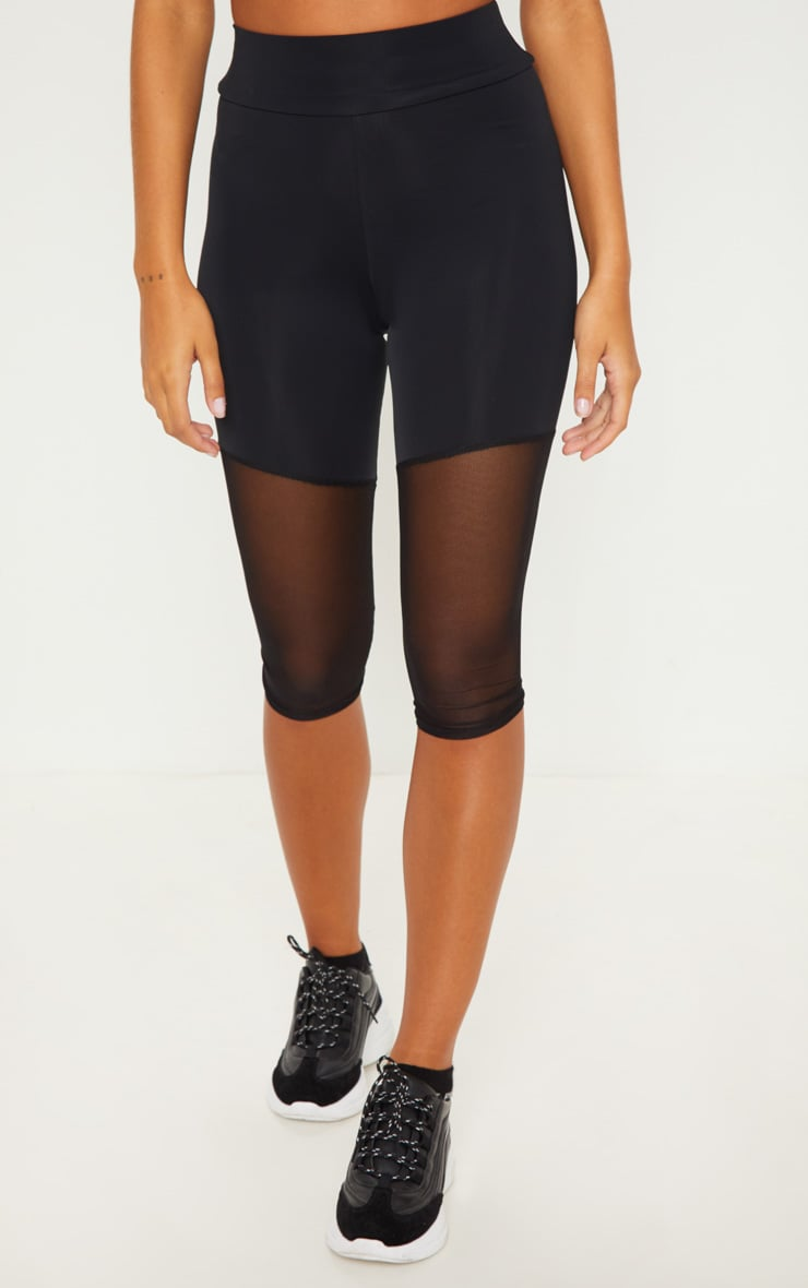 Black Basic Mesh Insert Gym Legging 2