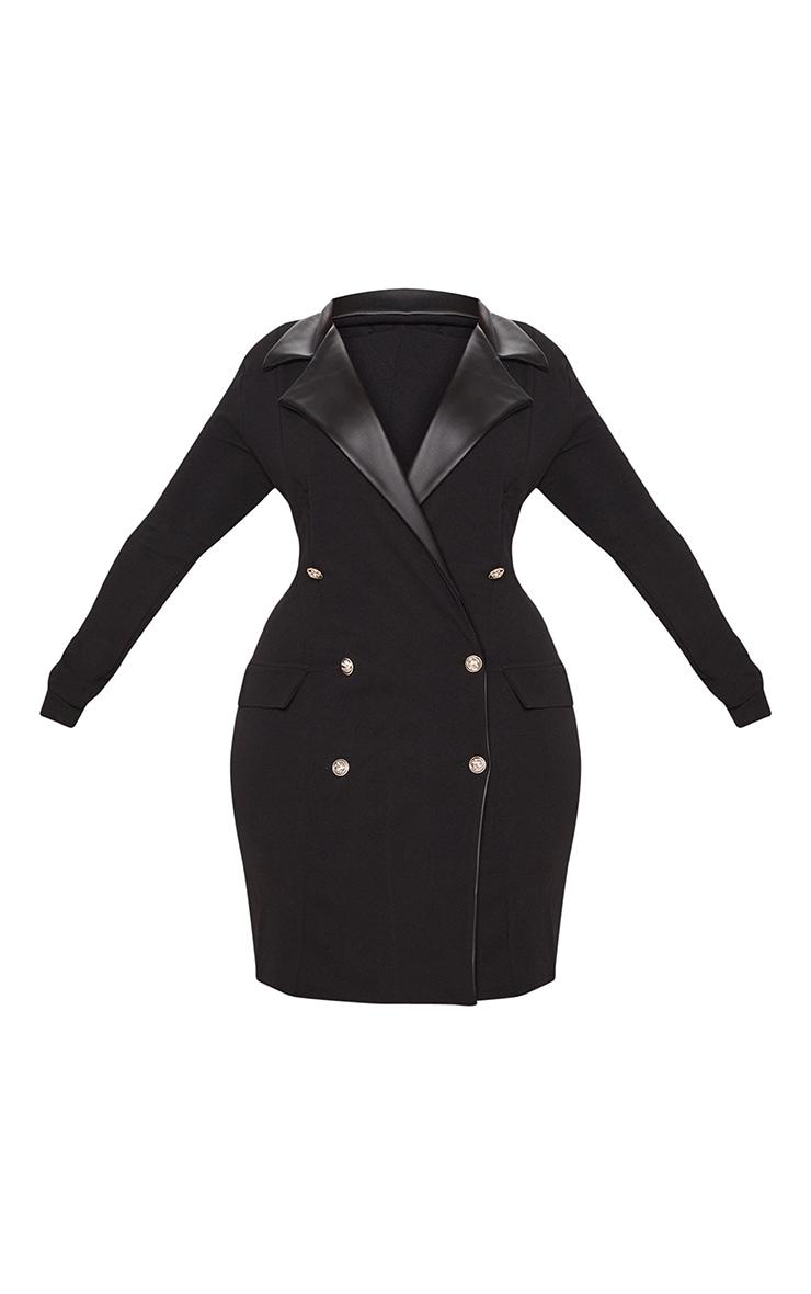 Plus Black PU Trim Button Detail Blazer Dress 3