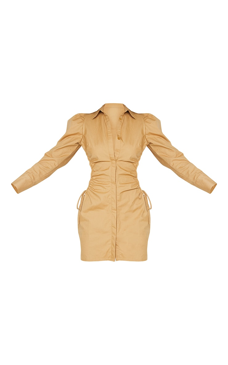 Camel Ruched Side Lace Up Detail Shirt Dress 5