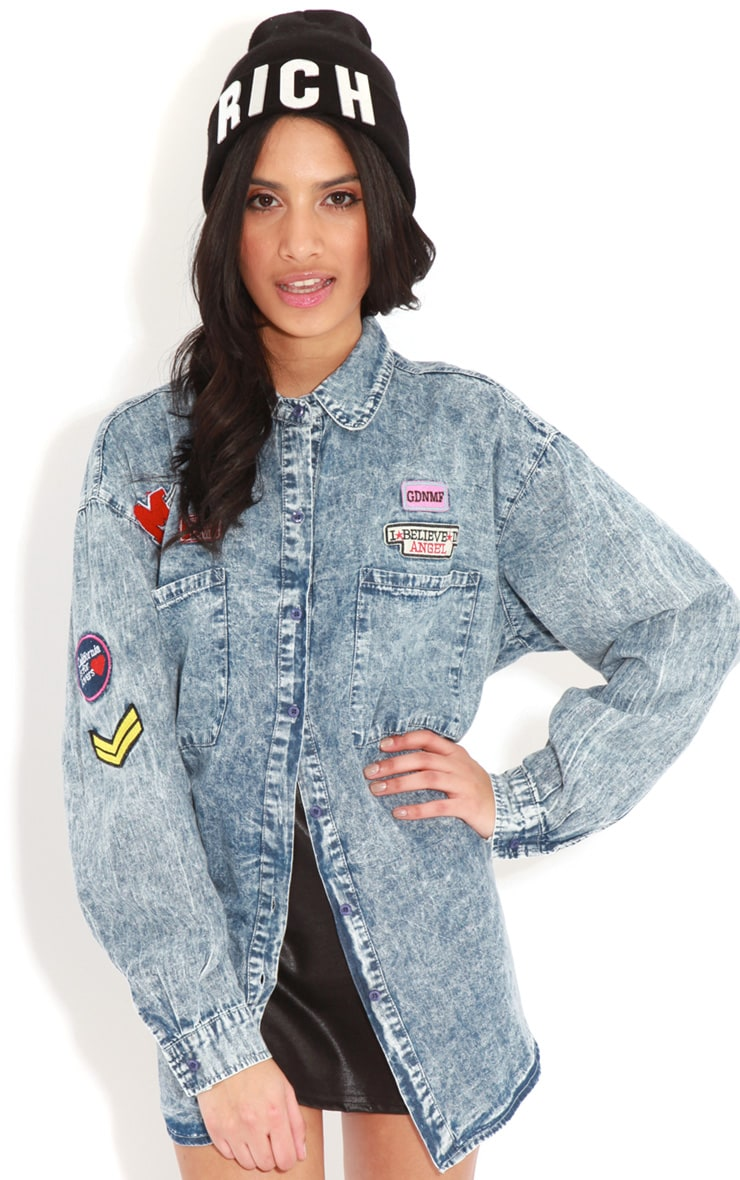 Gabby Blue Acid Wash Logo Shirt 1