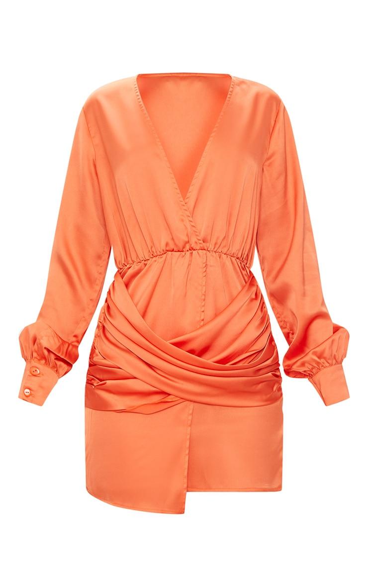 Orange Long Sleeve Plunge Wrap Over Skirt Satin Bodycon Dress  3