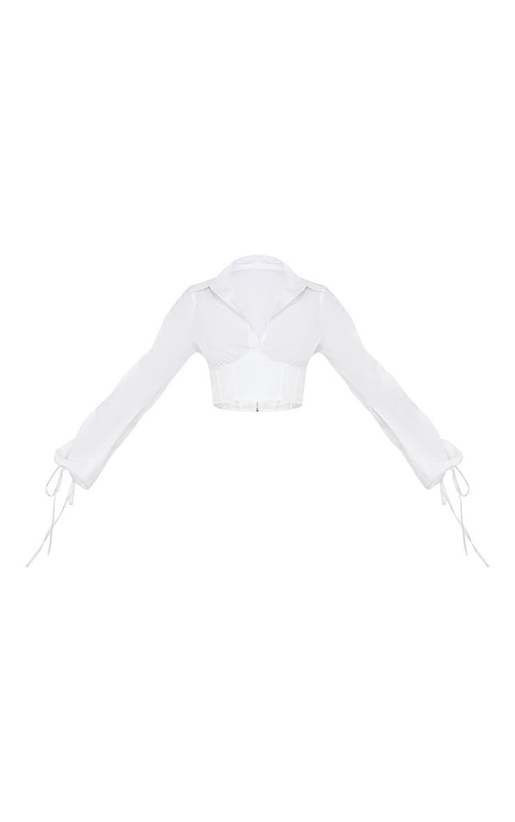 White Woven Corset Detail Shirt 5