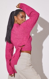 RENEW Pink Knitted Tie Back Cropped Sweater 1