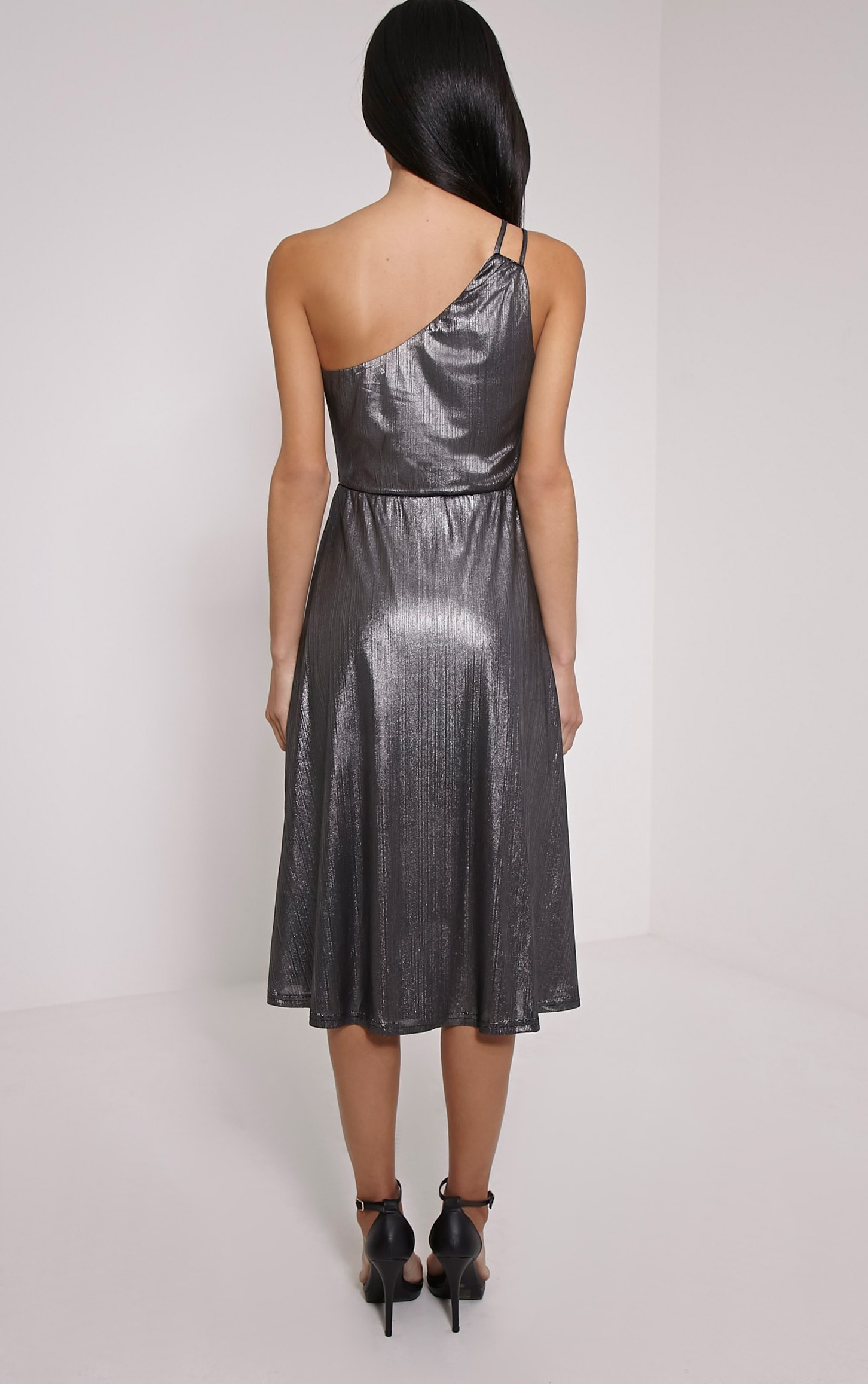 Stephy Silver Metallic Skater Dress 2