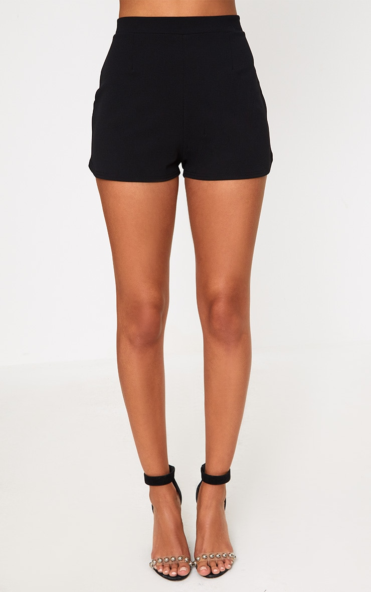 Black Curve Hem Shorts 2